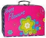 Kinderkoffer - ' bunte Blumen / Flowers - pink & türkis blau ' - Groß - Puppenkoffer Koffer - Reisekoffer aus Pappe mit Metall Griff - für Kinder Mädchen - Geschenkekoffer - Blumenranke