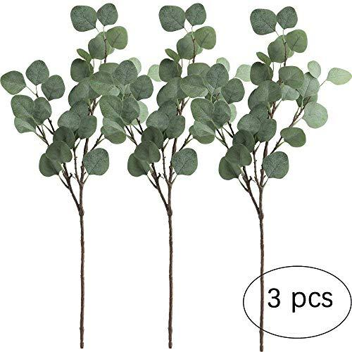 3 hojas eucalipto Amkun plata artificial rama, color