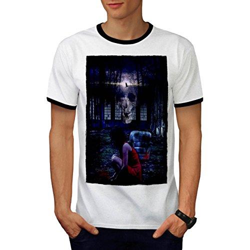 Mädchen schaurig Schädel Horror Geist Dame Herren M Ringer T-shirt | (Kostüme Schlecht Kind Geistes)