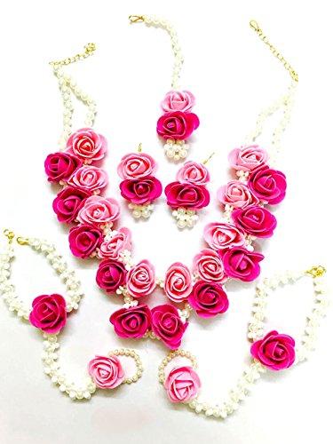 Floret Jewellery Beautiful Pearl Designer Pink Flower Jewellery Set With 6 Items...