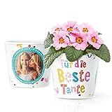 Beste Tante Geschenk - Blumentopf (ø16cm) | Geschenkidee zum Geburtstag, Babygeschenk oder Weihnachten mit Bilderrahmen für zwei Fotos (10x15cm)