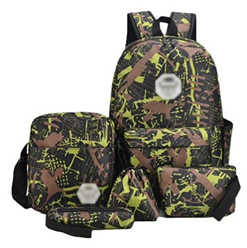 Imagen de youjia teens 5pcs sets de útiles escolares casual estampado  + bolsa de hombro + estuche + bolsa de paraguas + bolsa de cordón verde