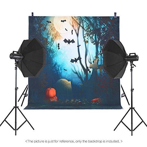 Andoer Andoer 1.5 * 2m Telón de Fondo de Fotografía Impresión Digital Halloween Calabaza Cementerio Bat Patrón de la Impresión para Foto Estudio