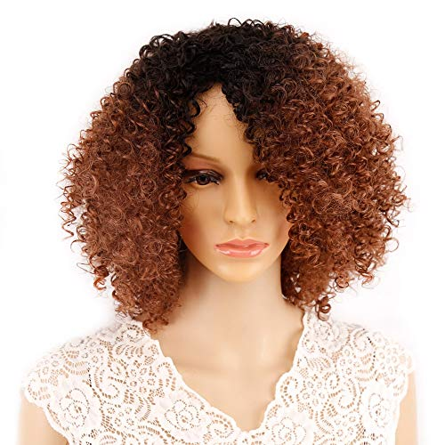 PWWLC 130% Dichte Braun Kurze Lockige Elastische Spitze Hochtemperaturfaser Synthetische Perücken Für Frauen