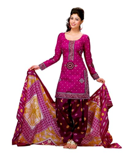 Miraan Women's Cotton Unstitched Salwar Suit Dress Material (Sg302 _Pink _Free Size)