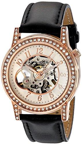 Akribos XXIV Bravura - Orologio da donna con movimento a vista, automatico, orologio da donna con cinturino in pelle nera AK475RG