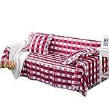 cuckoo-X - Funda para sofá con Estampado de Cuadros Gruesos, Funda para sofá de Cuatro Estaciones, Tejido Pesado Universal, Protector para Muebles de sofá con Pines, L/Red