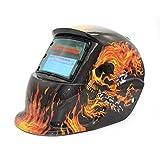 TIG MIG MMA con oscuramento automatico ad energia solare Maschera per saldatura elettrica Maschera per casco Saldatore Lente per saldatrice Taglierina al plasma (colore: grigio scuro e rosso)