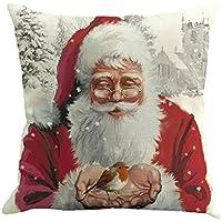 99native Tema de Navidad Papá Noel Impreso Funda de Almohada sofá Oficina cojín decoración del hogar (D)