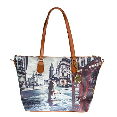 Y NOT? - Borsa donna shopper con manici tracolla shopping media londra romantic