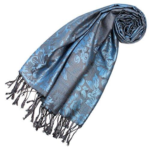Lorenzo Cana Designer Pashmina hochwertiger Marken Schal floral gewebtes blaues Blumen Muster Damast Webart 70 cm x 180 cm Modal Schaltuch Schal Jacquard Tuch 93236