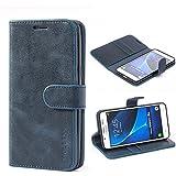 Mulbess Ledertasche im Ständer Book Case / Kartenfach für Samsung Galaxy J5 (2016) Tasche Hülle Leder Etui,Dunkelblau