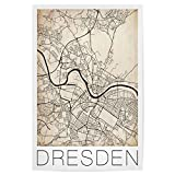 artboxONE Poster 60x40 cm Retro Map Dresden City Map von Künstler David Springmeyer