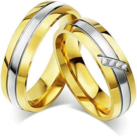 Bishilin Acciaio Inossidabile Argento e Oro Bicolore Cubi Zirconio Anelli Coppia Anello Fedine Anelli(Prezzo per 1pc)