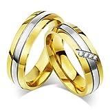 SonMo Edelstahl Damen Ringe Breit Silber 3 Streifen Bicolor Glatt Hoch Poliert mit Weiß Zirkonia Paarringe Dünn Silber Gold Größe:67 (21.3)