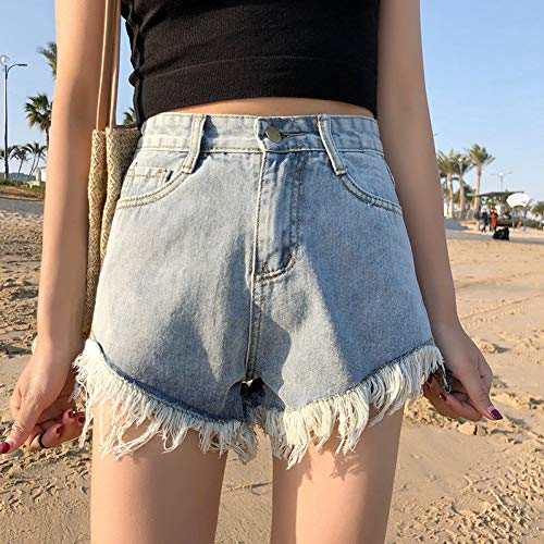 DAIDAICDK Summer Wind Feminine Blue Shorts Mit Hoher Taille Für Frauen Tragen Sie Lässige Jeans-Shorts Mit Fransen -