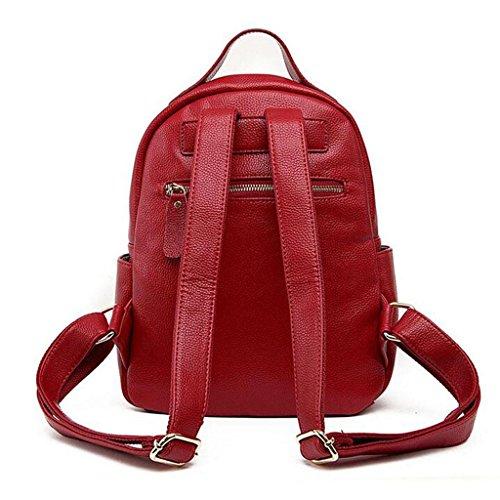 Y&F Leder Schultertasche Nietrucksack Student BeiläUfige Tasche Reisetasche 27 * 14 * 31 Cm Red