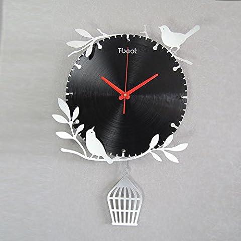 Amore MSRRY uccelli in stile giardino arte mute orologio da parete argento titanio alluminio metallo mute orologio da parete , argento