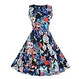 VEMOW Elegante Damen Vintage Schulterfrei O-Ausschnitt Drucken Ärmelloses Halloween Casual Party Cosplay Langes Maxi-Kleid(X1-b-Blau, EU-32/CN-S)