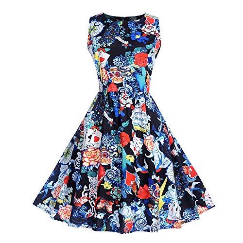 en Kostüm Halloween Kleid Festliche Kleider Partykleider Damen 1970er Vintage Cocktailkleid Rockabilly Retro Schwingen Kleid Faltenrock ()