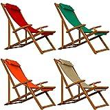 Deckchair Beige Sonnenliege Liegestuhl Strandstuhl Stuhl Gartenliege Relaxliege Holz 94x94x60 cm