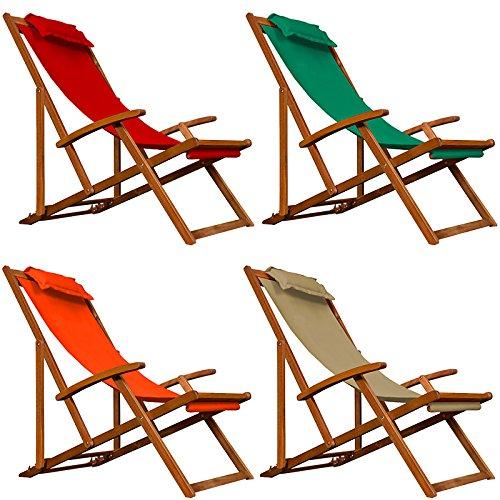 Deckchair Beige Sonnenliege Liegestuhl Strandstuhl Stuhl Gartenliege Relaxliege Holz klappbar 94x94x60 cm