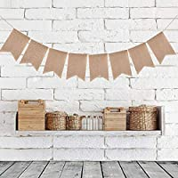 Lovestoryeu 48Pcs Burlap Banner,10m Swallowtail Flag, DIY Decoration for Holidays, Wedding, Camping, Party and Any Occasion