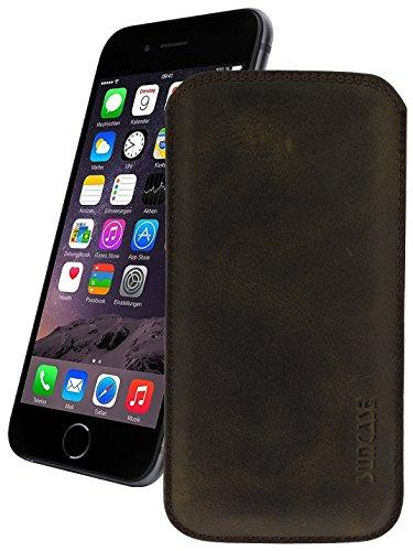 Original Suncase Leder Etui für iPhone 8 / iPhone 7 / iPhone 6s / iPhone 6 (4.7 Zoll) Ultra Slim Tasche Handytasche Ledertasche Schutzhülle Case Hülle (mit Rückzuglasche) antik-braun 7-leder Etui