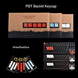 "Generic Red : PBT Backlit Transparent Keycaps with Key Puller for Backlit Mechanical Keyboards ""QWER,ASDF,ESC,Arrow Key"" (White/Blue/Red)"
