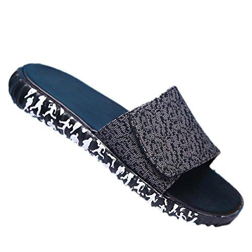 SHANGXIAN Cozy unisexe tricoté respirant Summer Skidproof pantoufles d'intérieur Khaki