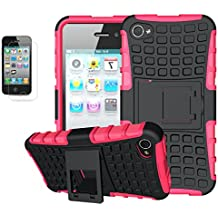 ISENPENK Apple iPhone 4/4s Stand Case mit Panzerglas/Schutzfolie,TPU+PC Ultra Slim Silikon Tough Rugged Dual-Layer Hardcase with Built-in Kickstand Thin Schutzhüllen,Wasserdicht Shockproof Anti Slip Protection Hülle Tasche für Apple iPhone 4/4s 3.5Zoll-[rosa]+Panzerglas/Schutzfolie/Displayschutzfolie