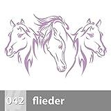 Premiumsticker24 Wandtattoo 3 Pferdeköpfe 1 | Schlafzimmer Wohnzimmer Kinderzimmer Aufkleber selbstklebend Wand, 042 flieder, 90cm x 57cm