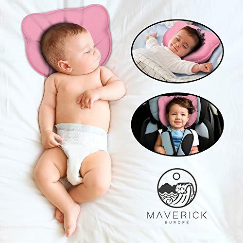 Maverick - Almohada para bebé que previene la plagiocefalia 100% algodón. Cojín para cuna con dos...