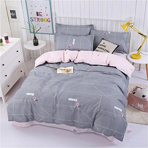 LongYu Einfache Gebürstete Plaid-Linie Gedruckt Quilt Decken Vier Sätze. (Color : Gray, Size : King)