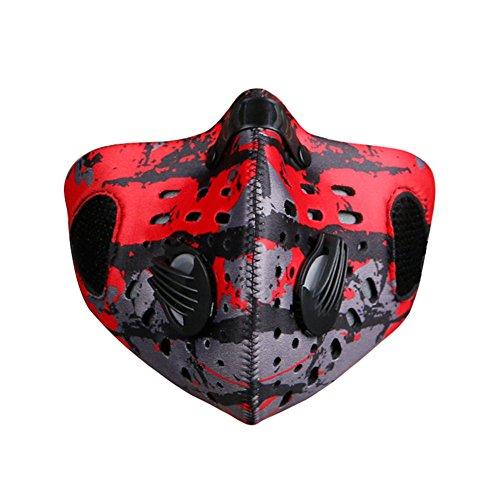 TININNA Neue Mode Aktivierte Carbon Anti Haze Maske Outdoor Anti-Verschmutzungs maske Carbon Tuch Filter Motorrad Radfahren Reiten Staubdicht Winddicht Halbes Gesicht Maske (Rot)