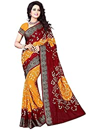 Manorath Women's Cotton Silk Saree With Blouse Piece (Bandhni Red-Orng_Multi-Coloured)