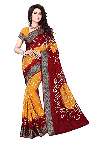 Visva Fashion Cotton Silk Saree With Blouse Piece (Yellow Bandhani)