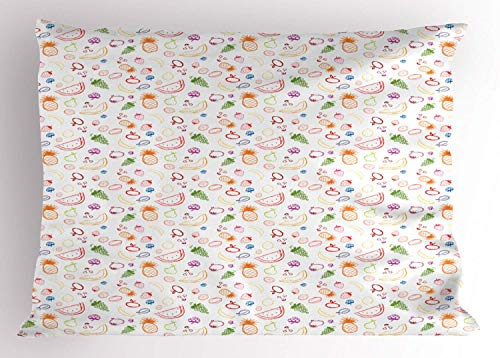HFYZT Fruit Pillow Sham, Sketch Vegetarian Berries and Food Grapes Lemon Pear Pineapple Cherry and Strawberry, Decorative Standard King Size Printed Kissenbezug Pillowcase, 18 X 18 Inches, Multicolor -