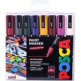 Posca - PC-5M Medium Bullet Tip - Paint Marker- Deep colours 8-pen pack