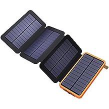 Solar Powerbank X-DRAGON 10000mAh Faltbar Outdoor Solar Panel Ladegerät Dual USB Solar Batterie für Handy, iPhone, Samsung Galaxy ipad, Kamera.(Orange)