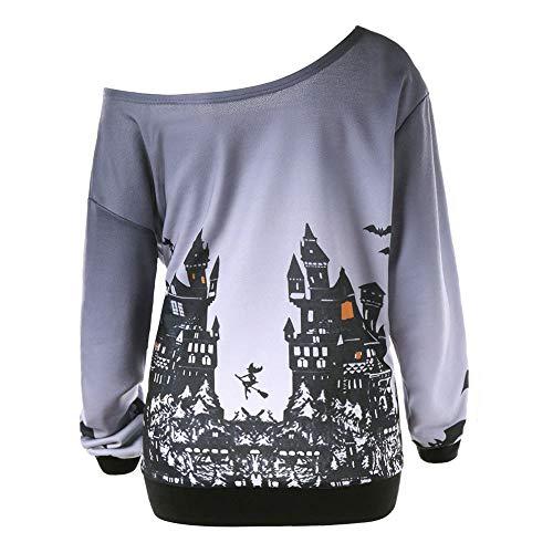 SEWORLD Halloween Frauen Schrägkragen Halloween Kürbis Fledermaus Gedruckt Sweatshirt Jumper Pullover Tops(Grau,EU-36/CN-S)