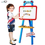 Negi 84 Pieces 3-in-1 Educational Magnetic White Chalk Board Learning Easel for Kids