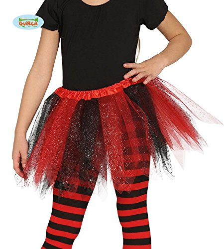 Tütü Tutu rot schwarz mit Glitzer für Kinder Fee Ballett Party Rock Tänzerin ca. 30cm