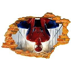 Etiqueta de la pared (Superhero Spiderman al revés) - pared roto / agujero en la pared / pared destrozada 3D mirada - decoración de la pared para el sitio del dormitorio / de la sala / de los cabritos - Pelar y palillo Bricolaje - etiqueta autoadhesiva del vinilo