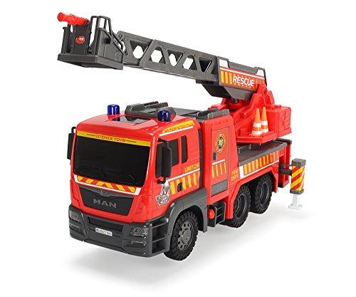 Dickie Toys 203809007 - Air Pump Fire Engine, Feuerwehrauto mit Freilauf, Luftpumpfunktion für Heben und Senken der Leiter, 54cm