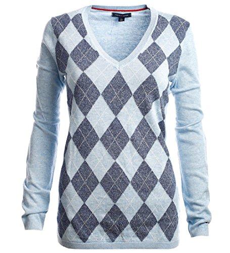 Argyle Pullover Mit V-ausschnitt (Tommy Hilfiger Damen V-Neck Pullover Argyle hellblau-blau Größe S)