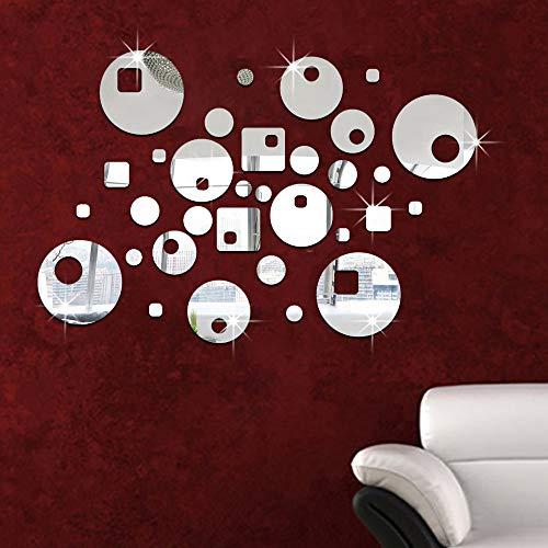 Spiegel wandaufkleber aufkleber hochzeitsraum dekoration veranda restaurant klassenzimmer neue haus dekoration runde spiegel aufkleber silber 45 * 30 cm