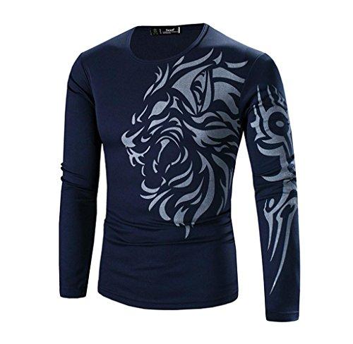 Covermason Herren Langarm-T-Shirt Tops Hemd (M, Marine) (Top Marine-blau-t-shirt)