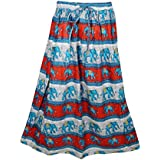 Mogul Interior Womens Retro Skirts Printed A-Line Flirty Bohemian Long Skirt (Red-2)