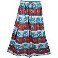 Mogul Interior Womens Retro Skirts Printed A-Line Flirty Bohemian Long Skirt (Red-2)